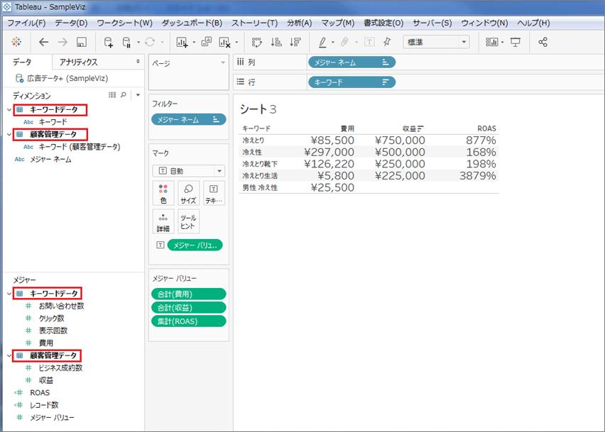 2つのデータが結合された状態