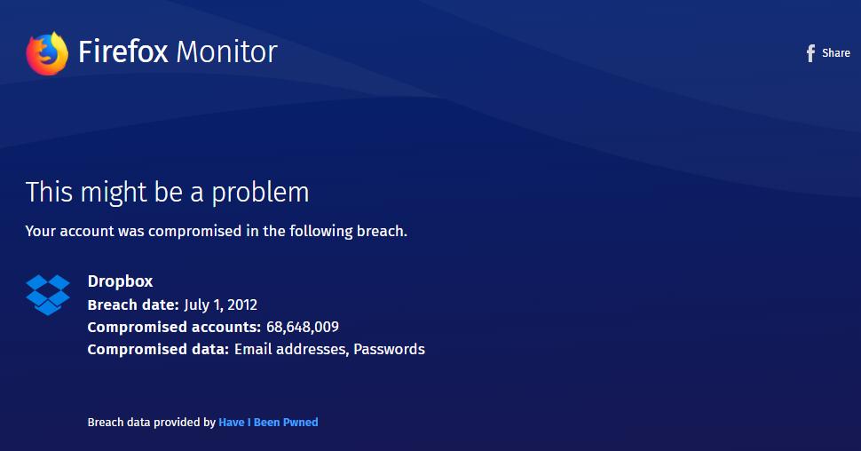 メールアドレス流出状況がチェックできるFirefox Monitor